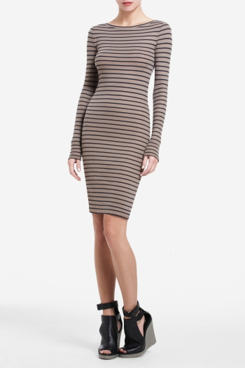 BCBGMAXAZRIA FAYE LONG-SLEEVE STRIPED DRESS