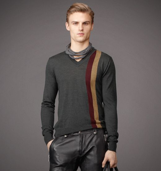 BELSTAFF MEN BRANSTON SWEATER Dark Grey/Rosewood/Bronze Green