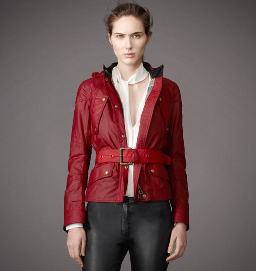 BELSTAFF WOMEN HOODED TRACKMASTER JACKET Racing Red
