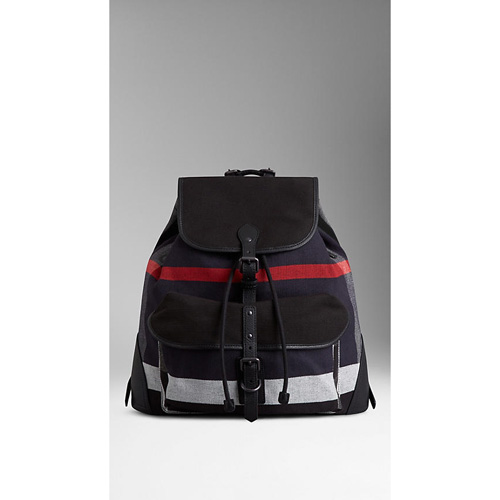 BURBERRY MEN'SSMALL CANVAS CHECK BACKPACK BLACK