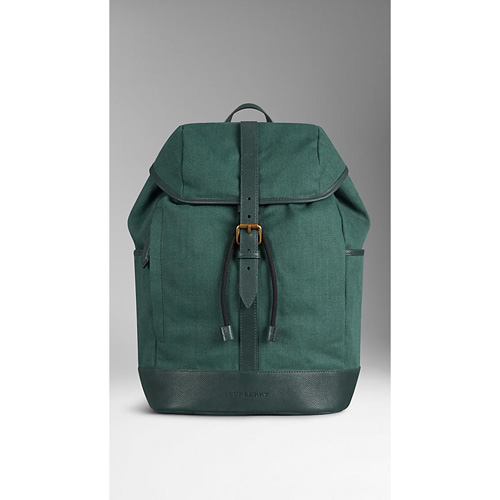 BURBERRY MEN'SLINEN CANVAS BACKPACK WITH LEATHER TRIM DARK RACING GREEN