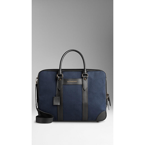 BURBERRY MEN'SCANVAS AND LEATHER BRIEFCASE WITH DIGITAL COMPARTMENT DARK INDIGO