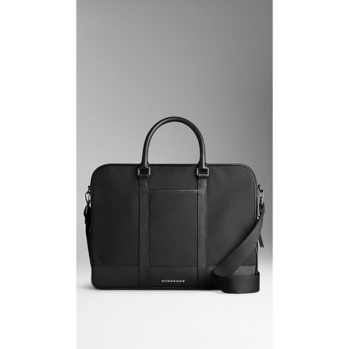 BURBERRY MEN'SLEATHER TRIM BRIEFCASE WITH DIGITAL COMPARTMENT BLACK