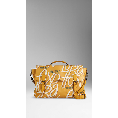 BURBERRY MEN'STHE EVERYDAY SATCHEL IN BOOK COVER PRINT LEATHER SAFFRON YELLOW