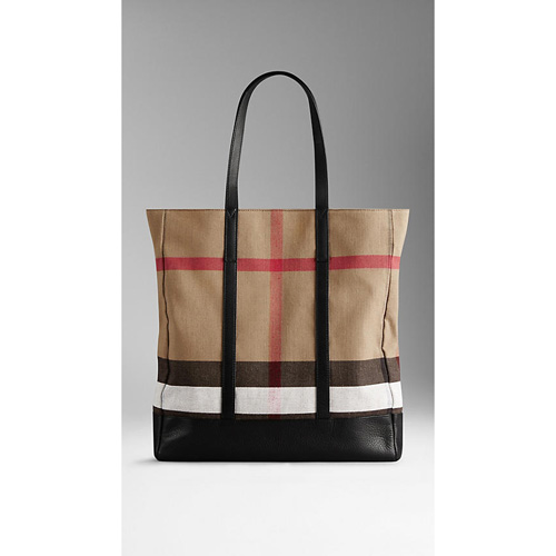 BURBERRY MEN'SSMALL CANVAS CHECK AND LEATHER TOTE BAG BLACK