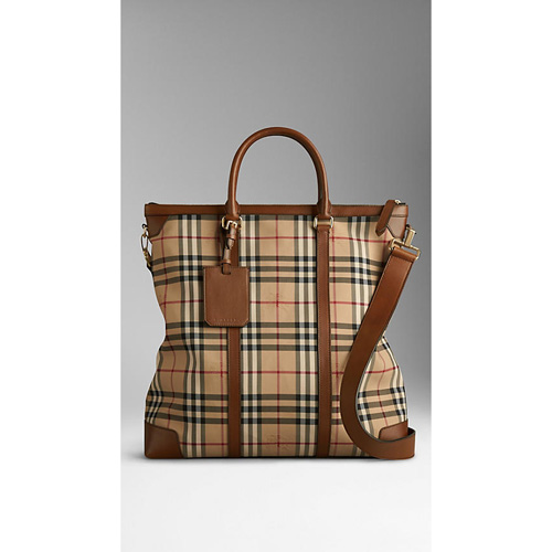BURBERRY MEN'SLARGE HORSEFERRY CHECK LEATHER TOTE BAG TAN