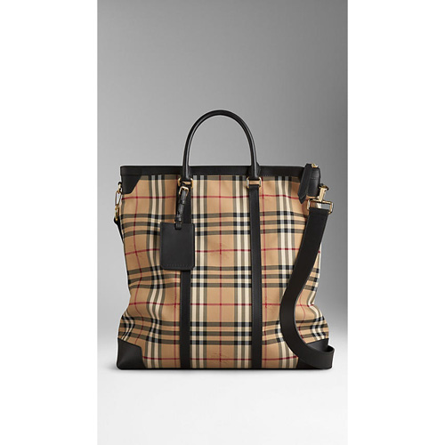 BURBERRY MEN'SLARGE HORSEFERRY CHECK LEATHER TOTE BAG BLACK