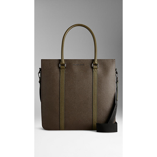 BURBERRY MEN'SCOLOUR BLOCK LONDON LEATHER TOTE BAG GREEN/CHOCOLATE
