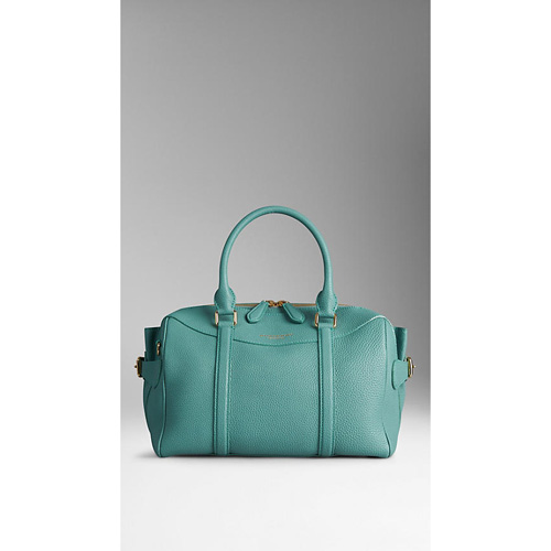BURBERRY WOMEN'S THE BEE IN GRAINY LEATHER AQUA GREEN