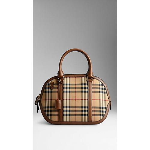 BURBERRY WOMEN'S THE SMALL ORCHARD IN SARTORIAL HORSEFERRY CHECK HONEY/TAN