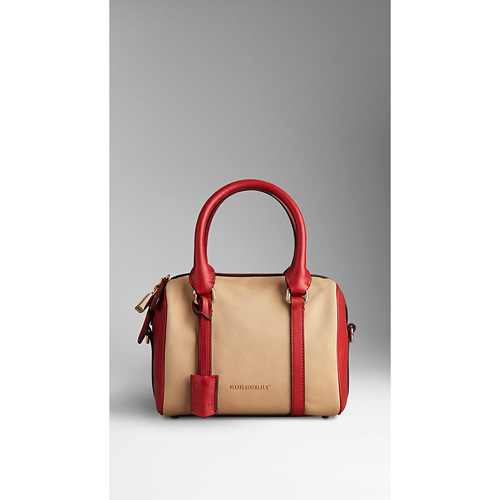 BURBERRY WOMEN'S THE SMALL ALCHESTER IN COTTON GABARDINE HONEY/PARADE RED