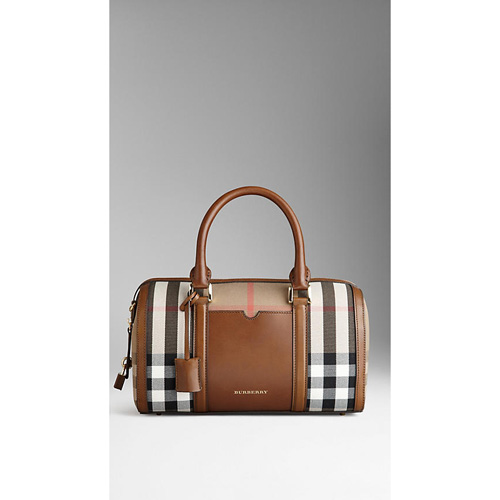 BURBERRY WOMEN'S THE MEDIUM ALCHESTER IN HOUSE CHECK AND LEATHER BROWN OCHRE