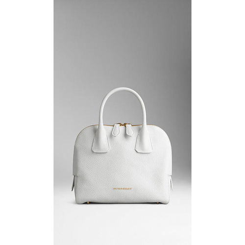 BURBERRY WOMEN'S SMALL GRAINY LEATHER BOWLING BAG WHITE