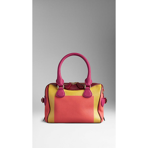 BURBERRY WOMEN'S THE MINI BEE IN HAND-PAINTED LEATHER WITH PATENT TRIM BRIGHT PEONY/ROSEHIP