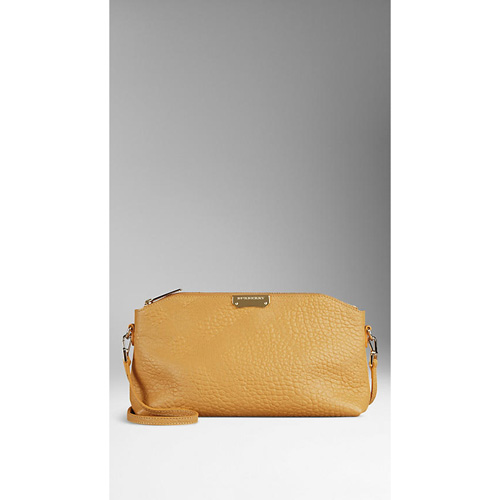 BURBERRY WOMEN'S SMALL EMBOSSED CHECK LEATHER CLUTCH BAG SAFFRON YELLOW