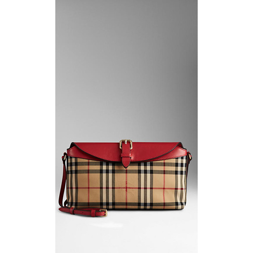 BURBERRY WOMEN'S SMALL HORSEFERRY CHECK CLUTCH BAG HONEY/PARADE RED