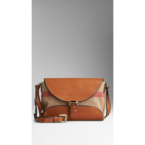 BURBERRY WOMEN'S SMALL CANVAS CHECK AND LEATHER CROSSBODY BAG SADDLE BROWN