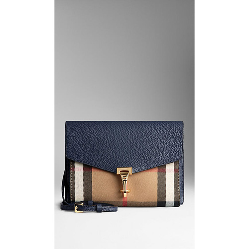 BURBERRY WOMEN'S SMALL LEATHER AND HOUSE CHECK CROSSBODY BAG MIDNIGHT BLUE