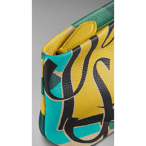 BURBERRY WOMEN\'S BOOK COVER PRINT LEATHER POUCH AQUA GREEN/FERN YELLOW