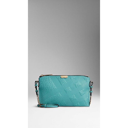 BURBERRY WOMEN'S EMBOSSED CHECK LEATHER CLUTCH BAG AQUA GREEN