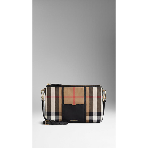 BURBERRY WOMEN'S HOUSE CHECK AND LEATHER CLUTCH BAG BLACK