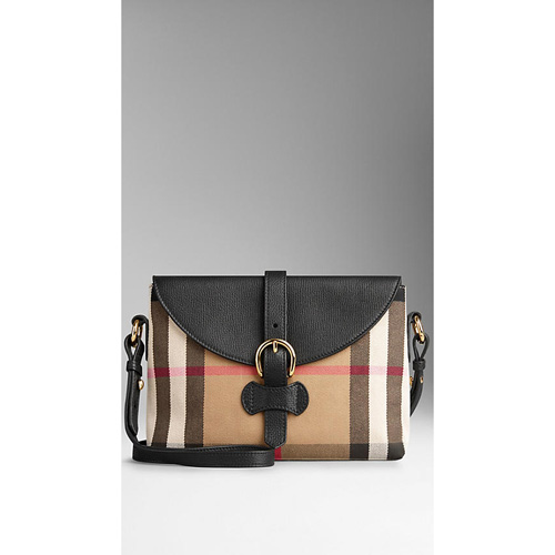 BURBERRY WOMEN'S SMALL HOUSE CHECK AND LEATHER CROSSBODY BAG BLACK