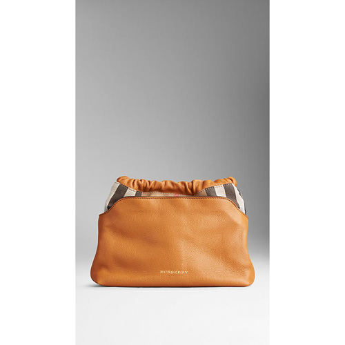 BURBERRY WOMEN'S THE LITTLE CRUSH IN LEATHER AND HOUSE CHECK COGNAC