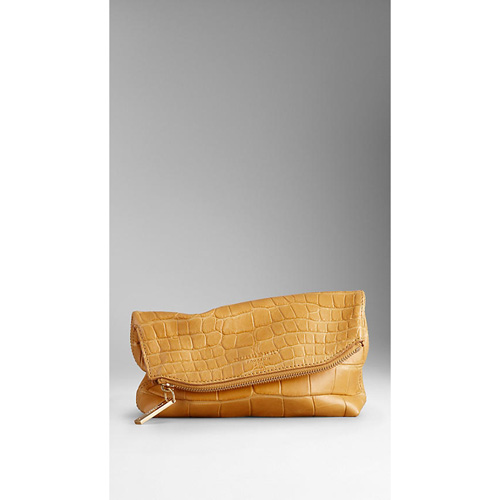 BURBERRY WOMEN'S SMALL ALLIGATOR LEATHER FOLDED CLUTCH ANTIQUE YELLOW