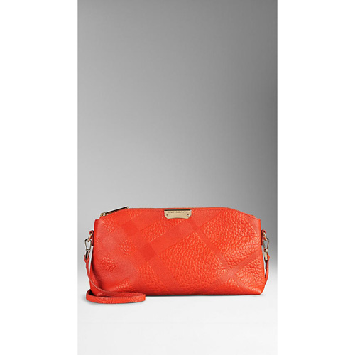 BURBERRY WOMEN'S SMALL EMBOSSED CHECK LEATHER CLUTCH BAG VIBRANT ORANGE