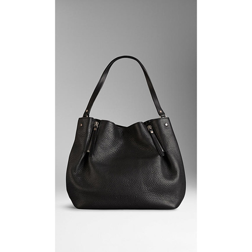 BURBERRY WOMEN'S MEDIUM ZIP DETAIL LEATHER TOTE BAG BLACK