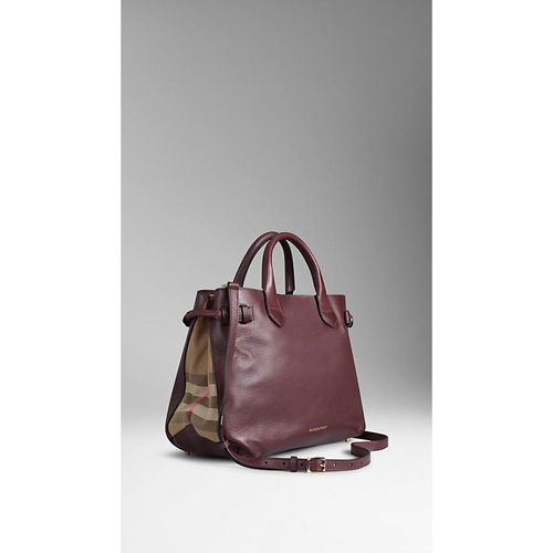 BURBERRY WOMEN'S MEDIUM HOUSE CHECK DETAIL LEATHER TOTE BAG DEEP CLARET