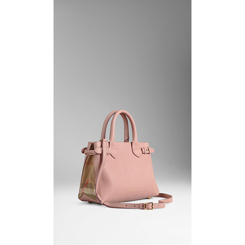BURBERRY WOMEN'S THE SMALL BANNER IN LEATHER AND HOUSE CHECK NUDE BLUSH