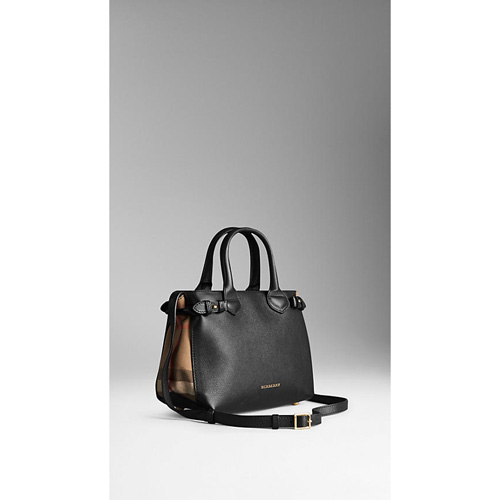BURBERRY WOMEN'S THE SMALL BANNER IN LEATHER AND HOUSE CHECK  BLACK