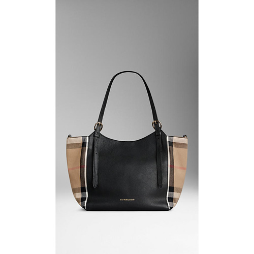 BURBERRY WOMEN'S THE SMALL CANTER IN LEATHER AND HOUSE CHECK BLACK