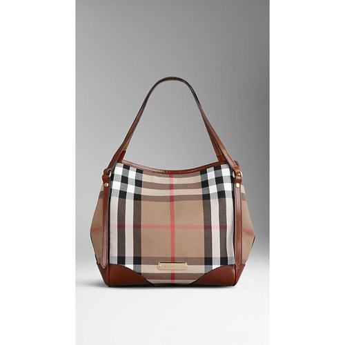 BURBERRY WOMEN'S THE SMALL CANTER IN HOUSE CHECK  DARK TAN