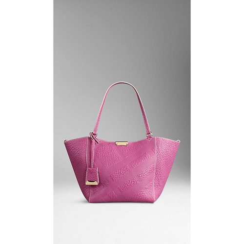 BURBERRY WOMEN'S THE SMALL CANTER IN BONDED LEATHER LIGHT MAGENTA PINK