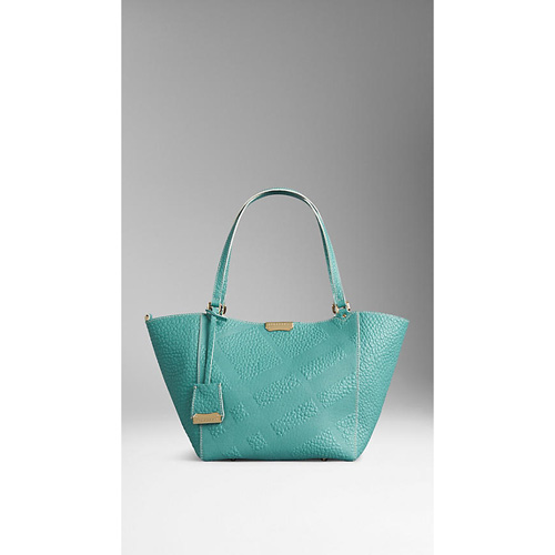BURBERRY WOMEN'S THE SMALL CANTER IN BONDED LEATHER AQUA GREEN