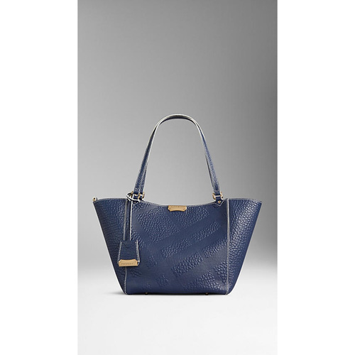 BURBERRY WOMEN'S THE SMALL CANTER IN BONDED LEATHER BLUE CARBON