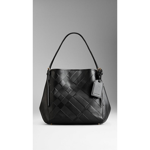BURBERRY WOMEN'S SMALL EMBOSSED CHECK LEATHER TOTE BAG BLACK