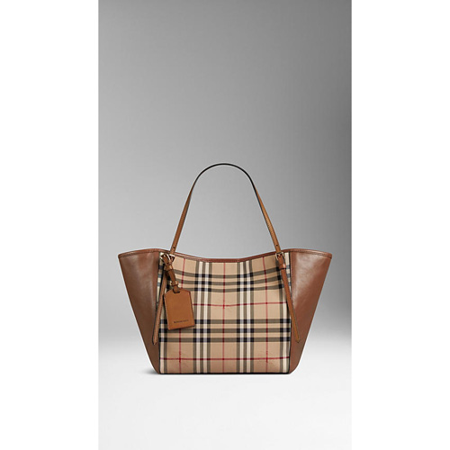 BURBERRY WOMEN'S THE SMALL CANTER IN HORSEFERRY CHECK AND LEATHER HONEY/TAN