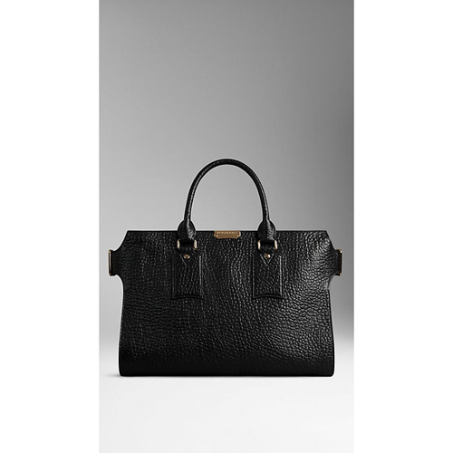 BURBERRY WOMEN'S LARGE SIGNATURE GRAIN LEATHER TOTE BLACK