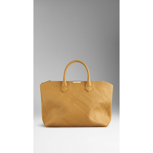 BURBERRY WOMEN'S MEDIUM EMBOSSED CHECK LEATHER TOTE BAG SAFFRON YELLOW