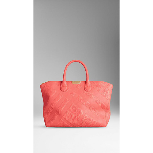 BURBERRY WOMEN'S MEDIUM EMBOSSED CHECK LEATHER TOTE BAG ROSE PINK