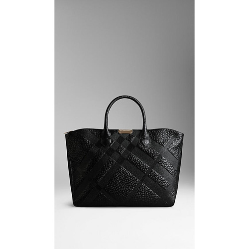 BURBERRY WOMEN'S MEDIUM EMBOSSED CHECK LEATHER TOTE BAG BLACK