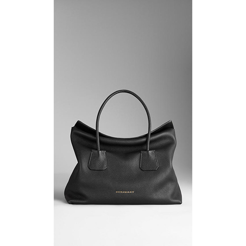 BURBERRY WOMEN'S MEDIUM LEATHER TOTE BAG BLACK