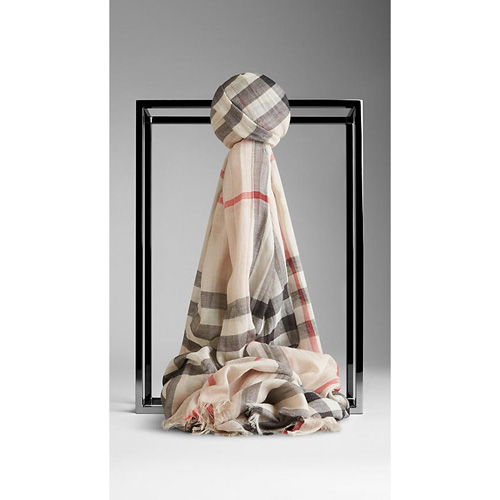 BURBERRY WOMEN'S CHECK WOOL SILK GAUZE SCARF STONE CHECK