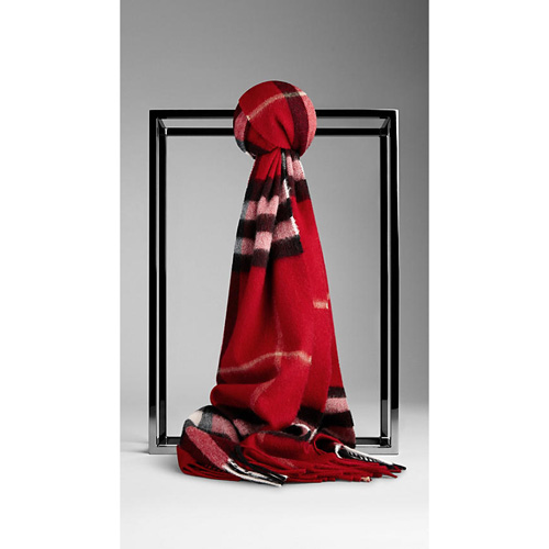 BURBERRY WOMEN'S CHECK CASHMERE SCARF PARADE RED CHECK