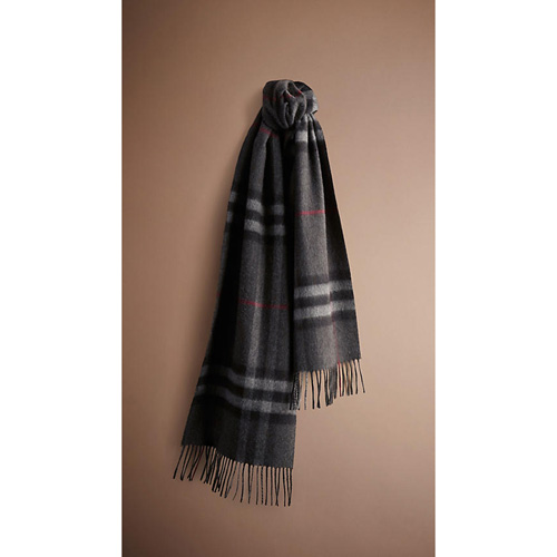 BURBERRY WOMEN'S CHECK CASHMERE SCARF CHARCOAL CHECK