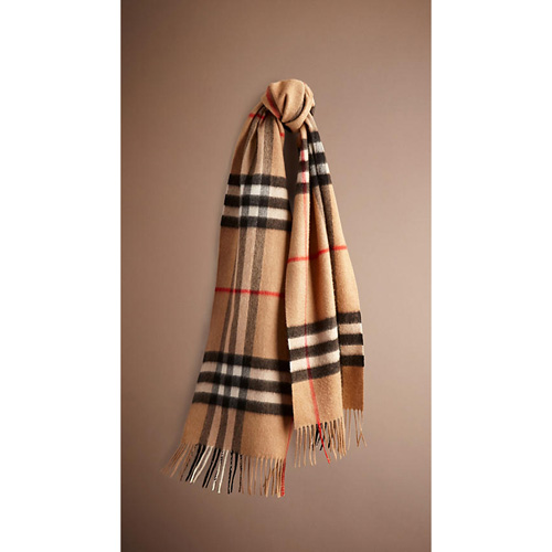 BURBERRY WOMEN'S HERITAGE CHECK CASHMERE SCARF CAMEL CHECK
