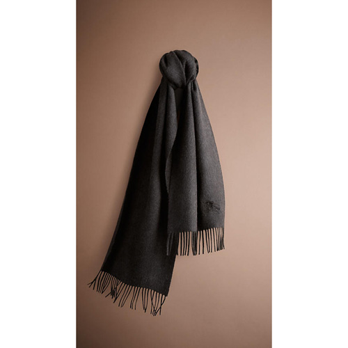 BURBERRY WOMEN'S HERITAGE CASHMERE SCARF CHARCOAL